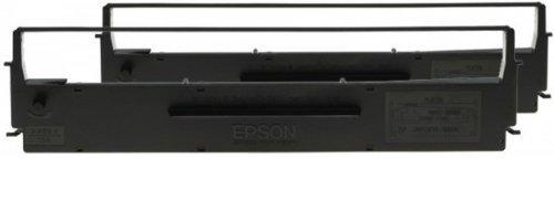 Epson C13S015647 Fabband, Nylon passend für LX300, 2x4 Millionen Zeichen Doppelpack, Schwarz