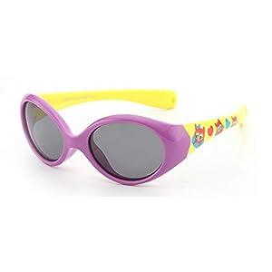 FOURCHEN Gafas de sol para bebés pequeños, 100% resistentes a los rayos UV, gafas de sol para niños pequeños para niños de 0 a 4 años (purple-yellow)