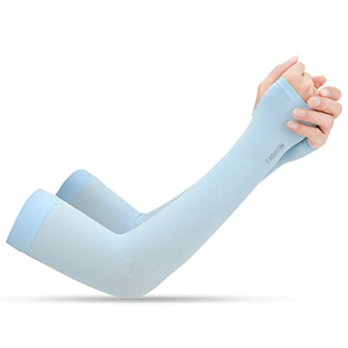 TwoCC 2Pcs Sport Arm Sleeve Uv Sun Protect Anti-Slip Basketball Brazalete Tattoo Cover (Azul)