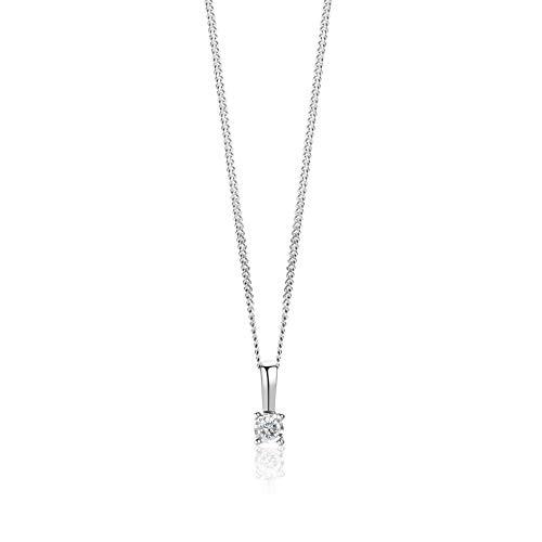 Orovi Collana Donna Solitario con Diamante taglio brillante Ct 0.03 in oro Bianco 9 kt 375 catena 45 cm