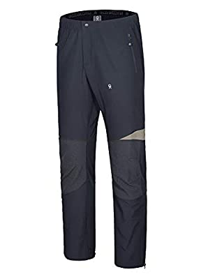 Little Donkey Andy Men's Lightweight Quick Dry Hiking Pants Reinforced Knees UPF 50 for Mountain Climbing Camping Black L