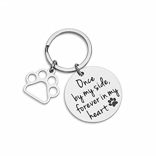 Etiqueta de perro Perro gato mascotas etiquetas recuerdo de las etiquetas de identificación de mascotas para las mujeres recuerdo para las mujeres hombres una vez a mi lado para siempre en mi corazón