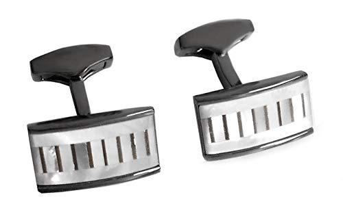 Unbekannt Manschettenknöpfe Perlmutt Weiss + grau Fassung blackplated glänzend Plus schwarzer Exklusivbox - vornehmes Accessoire für die Umschlagmanschette