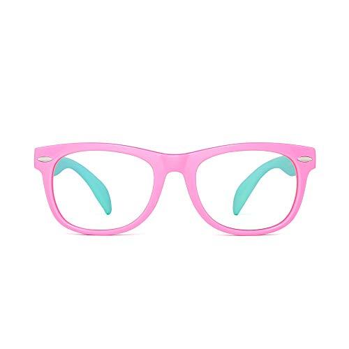 Kinder Blaues Licht blockiert Brillen Kids Anti-Augen-Belastung Gläser für Computer, Telefone, TV, Video Gaming Mädchen Jungen Rosa Rahmen Grüner Tempel
