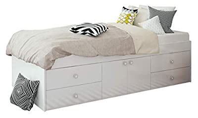 Low Sleeper 3ft Cabin White Storage 4 Drawer Single Bed 90 x 190cm (White)