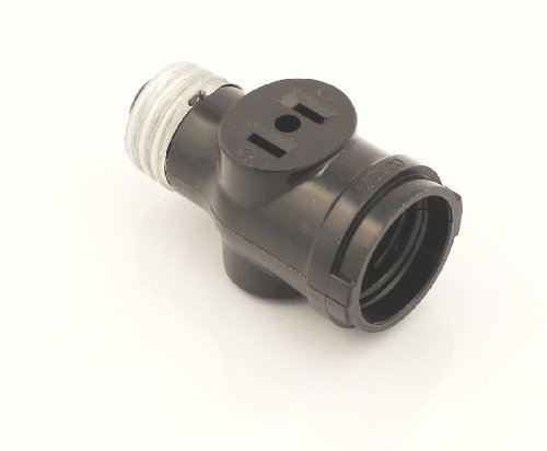 Leviton 1403 Two Outlet Socket Adapter, Black