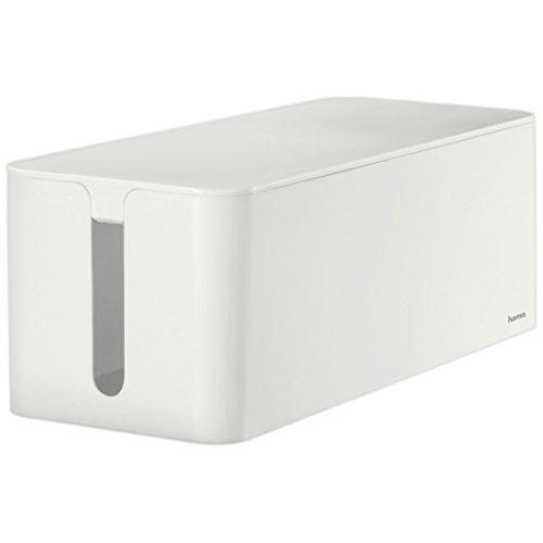 Hama - Caja de cables Maxi, 15,6 x 40 x 13cm (anch. x prof. x alt.), con pies de goma, blanca