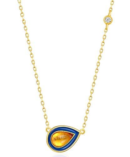 ZHANGQIAN Women 925 Sterling Silver Teardrop Amber Pendant Necklace,Jewelry Gift