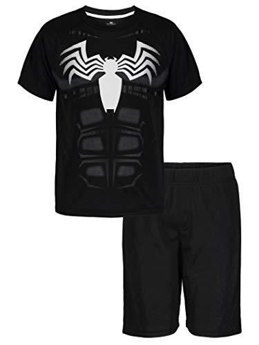 Marvel Avengers Black Panther Spiderman Hulk – Conjunto de shorts de malha e camiseta atlética para meninos, Venom, 7