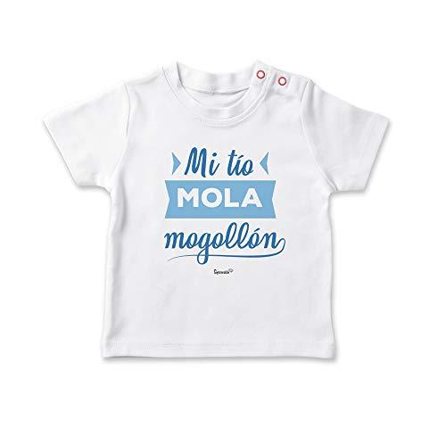 SUPERMOLON Camiseta bebé Mi tío mola mogollón Blanco 1-2 años