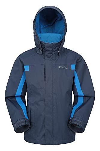 Mountain Warehouse Samson Jacke für Kinder - Regenjacke mit getapten Nähten, verstellbare Bündchen, elastischer Saum & Kapuze, Mesh-Futter - Ideal für Regenwetter Marineblau 7-8 Jahre