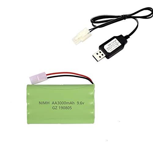 IENPAJNEPQN (H-Modell) NI-MH 9.6V 3000mAh Akku + USB-Ladegerät for Rc Spielzeug-Auto-Behälter Zug Roboter Boote Gun AA 9,6V Akku (Color : Navy Blue)