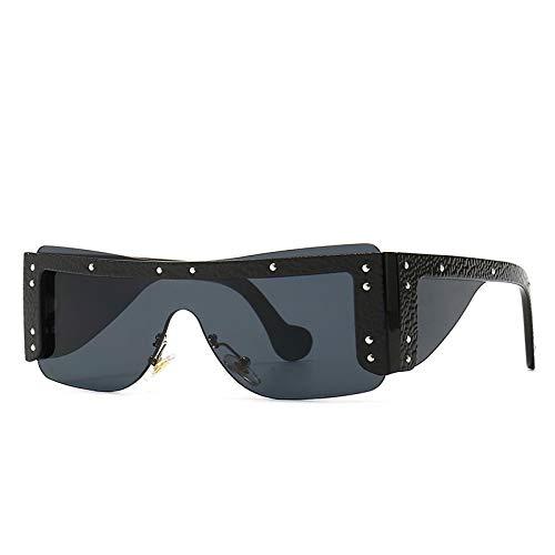Gafas De Sol Cuero Cuadrado Ensamblar Gafas De Sol Modernas Gafas De Sol Clásicas Vintage para Mujeres Y Hombres Diseño De Marca Recortado Sin Marco Siamés 4298Leathergray