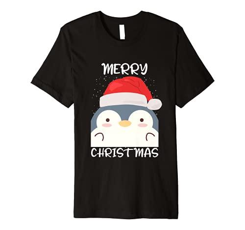 Penguin Santa Hat And Scarf Penguin Merry Christmas Premium T-Shirt