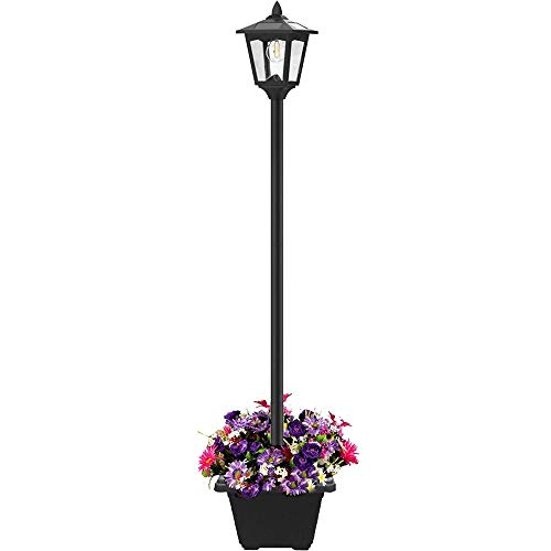 Lovinouse 67 Inch Outdoor Solar Lamp Post Light with Planter, Solar Powered Vintage Street Lights for Outdoor Landscape Pathway Patio Garden Yard