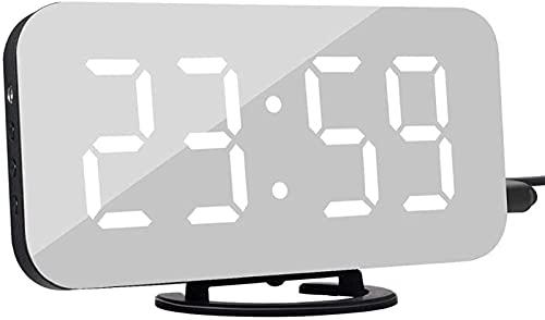 JOK Relojes de Alarma Digital, Pantalla LED con 2 Puertos de Carga USB, Modo de Snooze, Brillo Ajustable, Reloj de Pared de Escritorio Moderno para la Oficina de la Sala de Estar del Dormitorio
