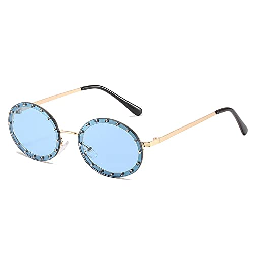 Gafas de sol ovaladas punk vintage para mujer, decoración de diamantes de imitación de lujo, gafas de lente de océano transparente a la moda, gafas de sol de diamante para hombre, azul dorado