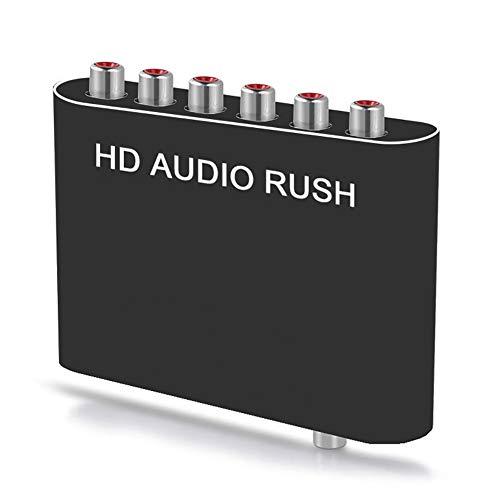 RSGK Decodificador De Audio DAC, Decodificador De Canal DTS Digital 5.1 PS3 HD DVD Convertidor De Audio PS4 Adaptador De Sonido Coaxial De Fibra Óptica, Convertidor De Digital a Analógico