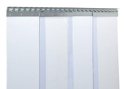 Cortina de fleje de PVC Cortina elástica industrial de 3x300 mm, transparente, completamente premontada, rieles de montaje galvanizados, resistente a la intemperie, protección contra salpicaduras