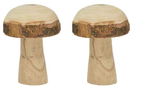HSM dekorativer klassischer Holzpilz Deko-Pilz aus Naturholz mit Rinde in 4 möglichen Größen (2 x mittel)