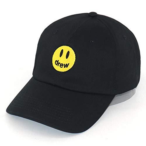YIFEID Cap Herren Haus Baseballmütze Zog Justin Bieber Vatihut Stickerei Aus 100% Baumwolle Smiley Hip Hop Hysteresenhüte Unisex,Schwarz