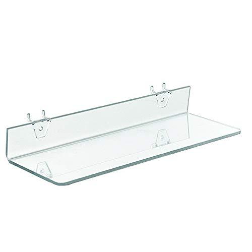 Azar Displays 556016 Clear Acrylic Shelf for Pegboard or Slatwall (4 Pack)