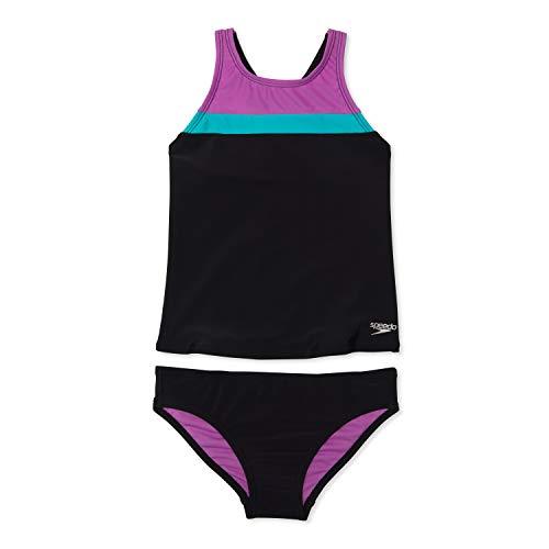 Speedo Women's Standard Swimsuit Two Piece Tankini Thick Strap, Black, 10