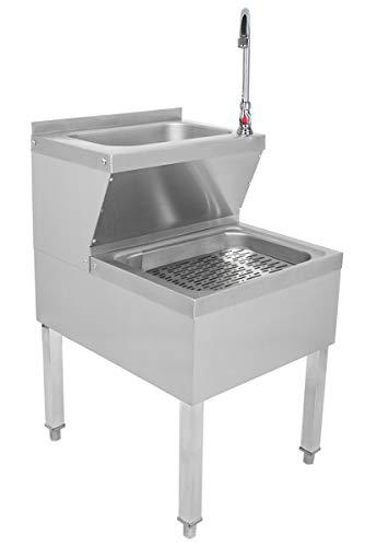 Beeketal 'BAB-1' 2in1 Edelstahl Stand Handwaschbecken mit Ausgussbecken, Industrie Waschbecken mit höhenverstellbaren Standfüßen, Rückseitiger Aufkantung und schwenkbarem Wasserhahn
