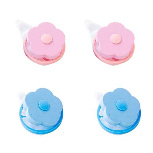Seezoomtiy 4 unidades atrapa el pelo de la lavadora, bolas para la lavadora, atrapa el pelo, filtro para pelo, herramienta reutilizable para la limpieza del hogar (rosa + azul)