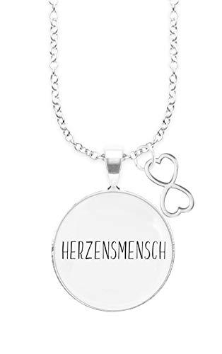 Spruchketten BY LIEBLICHKEITEN Nickelfreie Kette mit Sterlingsilber-Legierung 80 cm mit Anhänger Spruch in 2,5cm großer Glaslinse und Charm endlose Liebe: HERZENSMENSCH