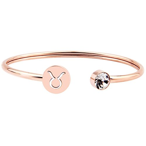 Ensianth, bracciale con segno zodiacale, in semplice oro rosa, regalo di compleanno per donne e ragazze, acciaio inossidabile, cod. UK-0211