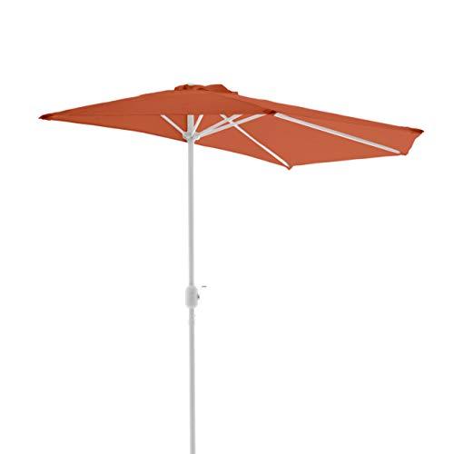 Nexos GM35098 Trading-Sombrilla (semicircular, diámetro de 2,70 x 1,40 m, con manivela, poliéster, 160 g/m2), Color Terracota, Naranja, 2,7m