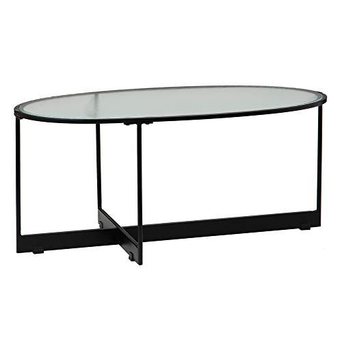 Mesa de Centro Oval de Cristal y Hierro Negra de 90x50x40 cm - LOLAhome