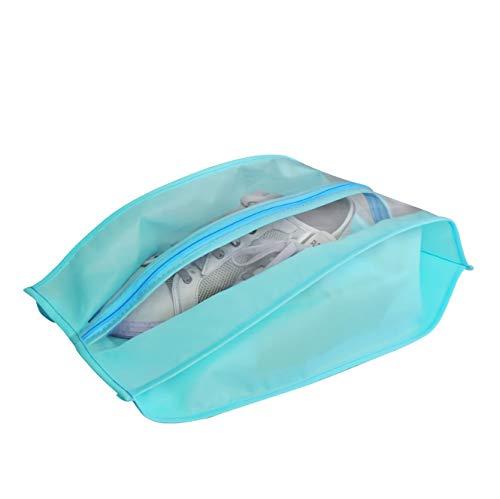 Waterproof Shoe Bag 2pcs Storage Organizer Pouch for Men and Women Oxford Travel Shoe Bags with Zipper Closure, Blue