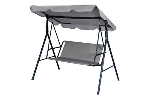 KFGARDEN - Funda para asiento de columpio de jardín, hamaca, repuesto para silla de jardín, columpio, 3 plazas, 138 x 50, color gris