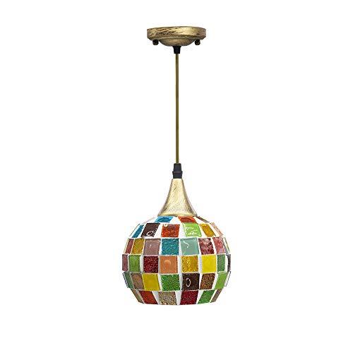LLY - Luces colgantes turcas con pantalla de cristal de 16 cm de diámetro hecha a mano, lámpara colgante de techo para bar, comedor, cocina, mesita de noche (ajuste de cable de 1 m)