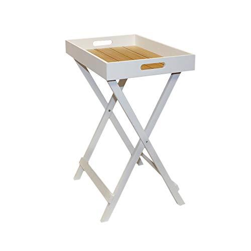 DRULINE Butlers Tray tablett Tisch Kleiner Beistelltisch Nachttisch Stabil klappbar Kaffeetisch aus Holz im Shabby-Chic Stil| KH02-OK-M | LNT50X | L x B x H 49 x 32 x 61.5 cm | Weiß Natur