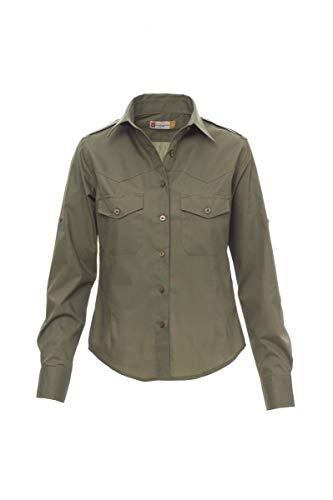 PAYPER Trophy Lady Camicia da Donna a Manica Lunga 100% Cotone Pettinato Tasche carrè sul Davanti fettuccia con Bottone al Braccio Verde Militare (M)