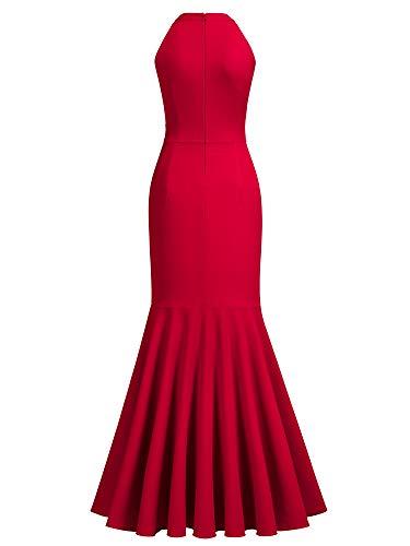 Miusol Women's Retro High Neck Split Formal Evening Party Maxi Dress