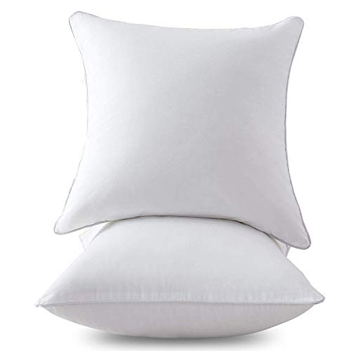 Homehold 2 Pack 20 x 20 Inch Square Pillow Inserts for Sofa, Decorative Throw Pillow Inserts with 100% Cotton Cover, Pure White