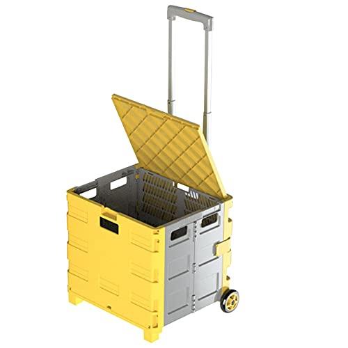 Carretilla de mano plegable BuyWeek, carrito de compras de plástico para supermercado, 30L, carrito de compras de supermercado, carrito de mano con ruedas