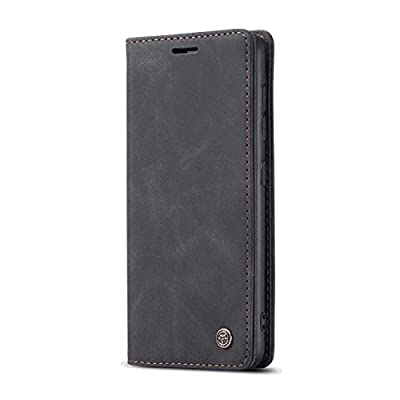 Leather Flip Case Fit for Samsung Galaxy S10 Plus, Kickstand Luxury Card Holders Soft Black Wallet Cover for Samsung Galaxy S10 Plus