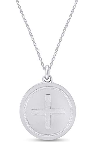 14k White Gold Plated 925 Sterling Silver Celtic Ailm Symbol Disc Pendant Necklace with 18' Chain | Minimalist, Delicate Jewelry