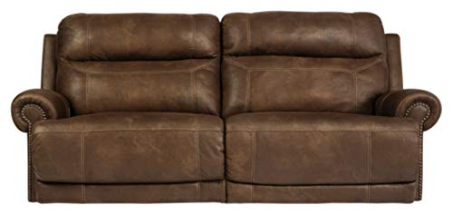 Signature Design by Ashley - Austere Contemporary Faux Leather 2 Seat Power Reclining Sofa, Brown