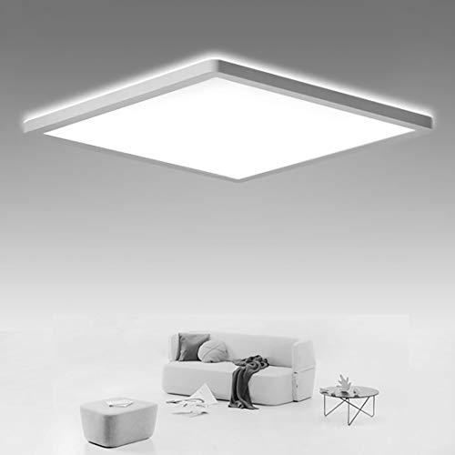 SHILOOK LED Deckenleuchte Flach, 18W Deckenlampe Eckig Panel für Bad/ Flur/ Schlafzimmer/ Keller/ Balkon, IP44 Wasserdicht Weiß Modern, 4000K Neutralweiß Ultraslim 29cm