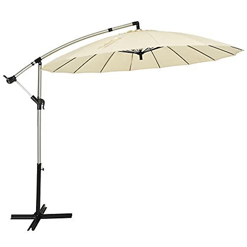 COSTWAY Ombrellone per Cortile 3 m, Ombrellone da Esterno con Inclinazione Regolabile, Parasole ombrellone per Cortile Piscina Prato e Giardino, Beige