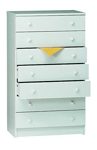 Esidra Cassettiera settimanale, 7 cassetti, Legno, 62 x 105 x 34 cm