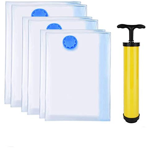 GOZAR Vacuum Storage Bags 6 Bags Free Travel Hand Pump Reduce Storage Space Shrink Space Needed to Store Clothes by up to 80%