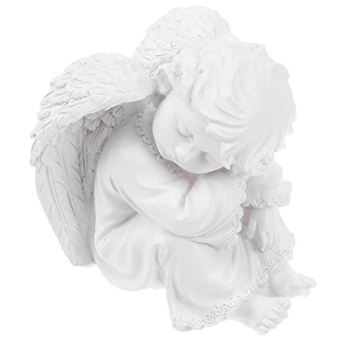 Garneck Resina Blanca Estatua de Ángel de Oración Figurita Escultura Alas de Querubín Figura de Ángel Estatua de Jardín de La Guarda para La Decoración de La Mesa del Hogar Estilo 3