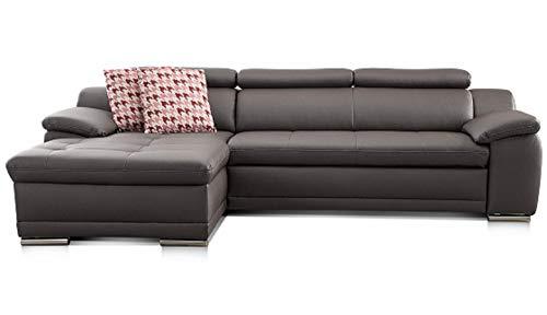Cavadore Ecksofa Aniamo mit XL-Longchair links / Eckcouch in Lederoptik mit Kopfteilfunktion im modernen Design / Sitzecke für Wohnzimmer in Lederoptik / 270 x 80 x 165 cm / Kunstleder grau